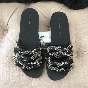 NWT Zara beaded slides black/silver size 37